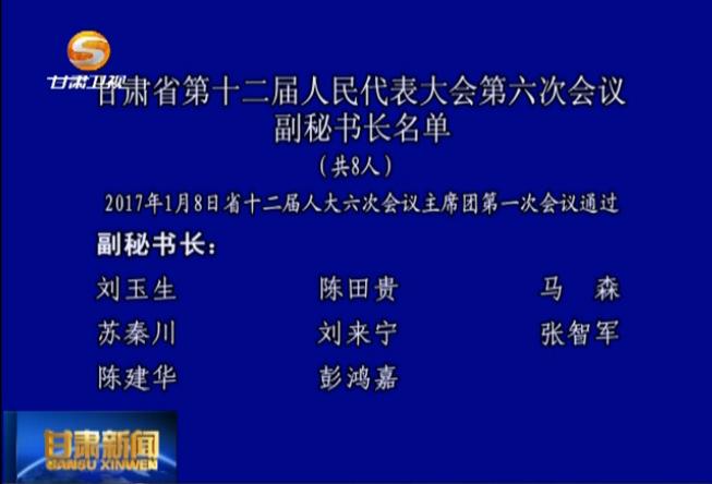 甘肃省第十二届人民代表大会第六次会议副秘书长名单