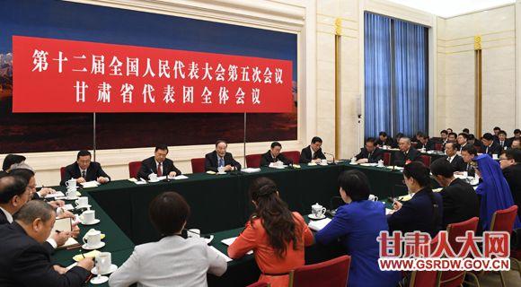 3月10日,中共中央政治局常委、中央纪委书记王岐山参加甘肃代表团的审议