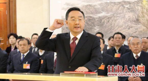4月11日,新任命的甘肃省人民政府代理省长唐仁健进行宪法宣誓