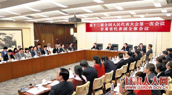 近日,出席十三届全国人大一次会议的甘肃代表团人大代表,对提交大会的各项工作报告进行认真审议。