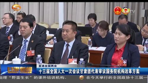 十三届全国人大一次会议甘肃团代表审议国务院机构改革方案