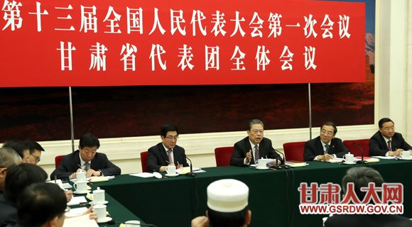 3月12日,中共中央政治局常委、中央纪委书记赵乐际参加十三届全国人大一次会议甘肃代表团的审议