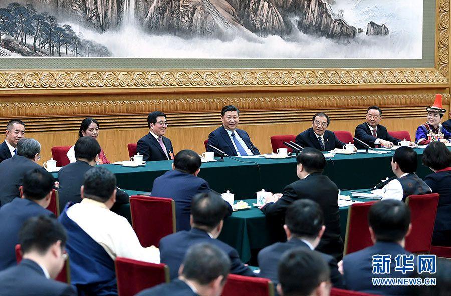 3月7日,中共中央总书记、国家主席、中央军委主席习近平参加十三届全国人大二次会议甘肃代表团的审议。